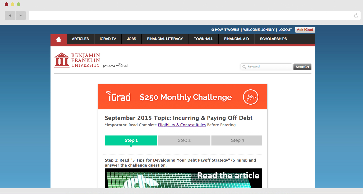 Student can enter to win $250 every month in iGrad's challenge