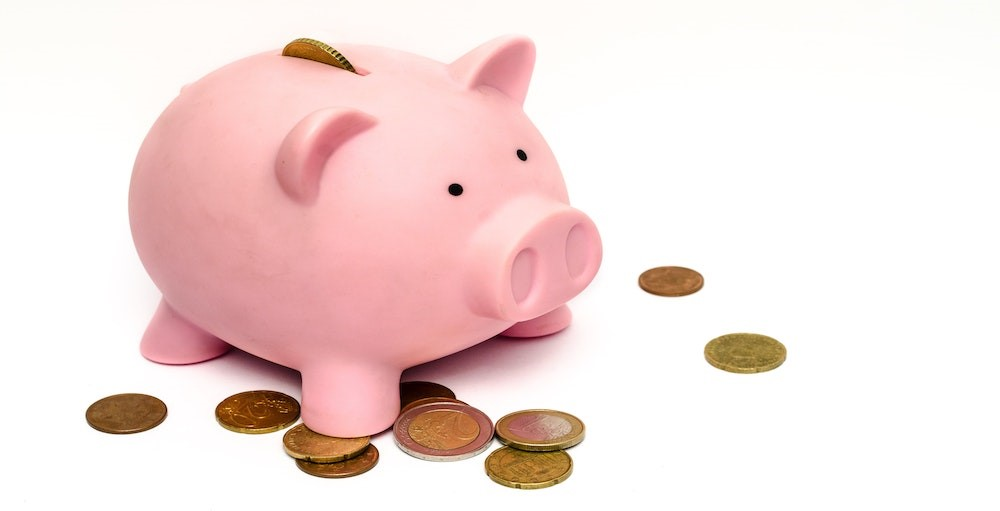 Financial literacy piggy bank with coins scattered around it