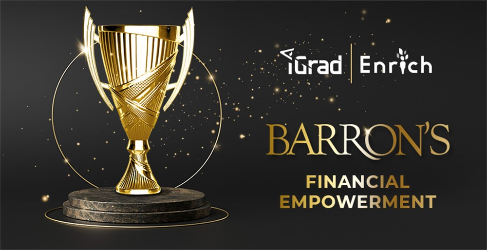 iGrad's gold award trophy for Barron's Financial Empowerment award