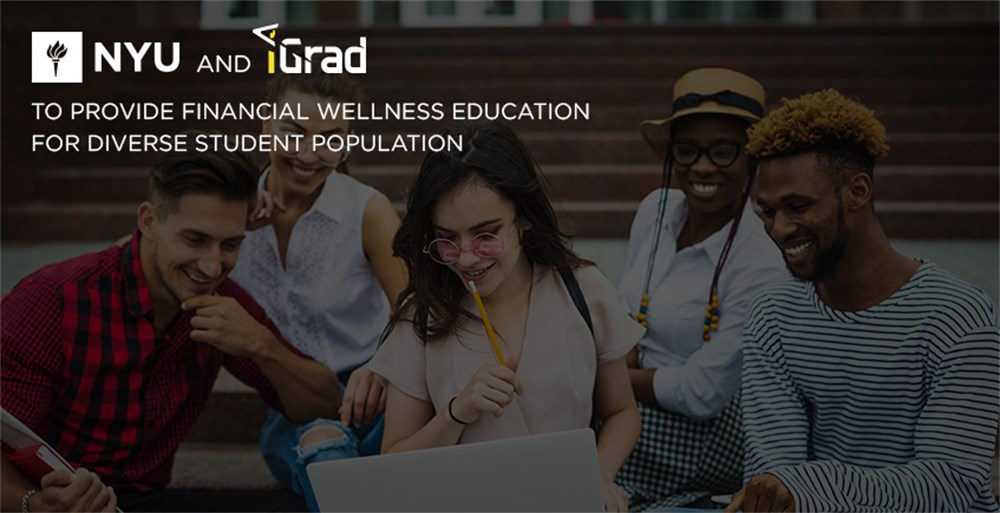 Diverse students at NYU enjoying the new iGrad Financial Literacy platform