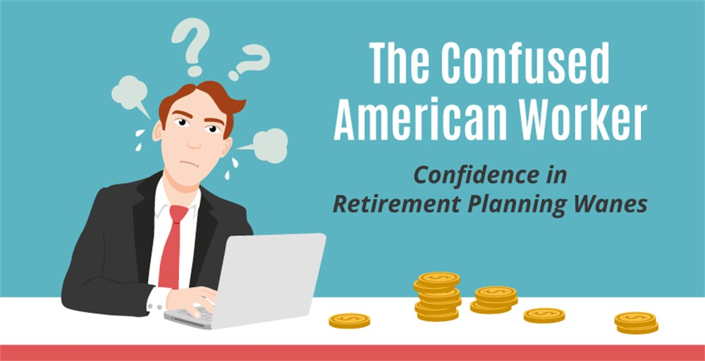 A confused american worker struggles with financial wellness and retirement planning