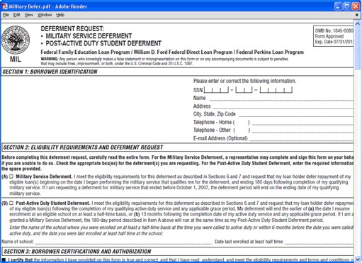 Military Student Loan Deferment Request