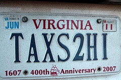 Taxes Too High Vanity Plate